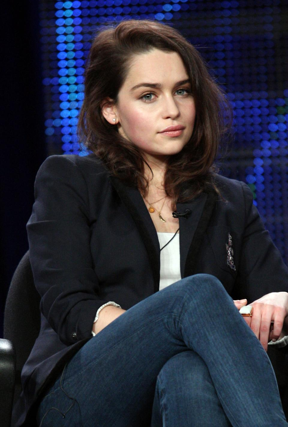 PASADENA, CA - JANUARY 07:  Actor Emilia Clarke speaks during the 'Game of Thrones' panel at the HBO portion of the 2011 Winter TCA press tour held at the Langham Hotel on January 7, 2011 in Pasadena, California.  (Photo by Frederick M. Brown/Getty Images)
