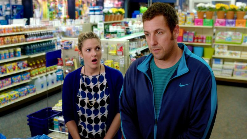 """This image released by Warner Bros. Pictures shows Drew Barrymore, left, and Adam Sandler in a scene from the film, """"Blended."""" (AP Photo/Warner Bros. Pictures)"""