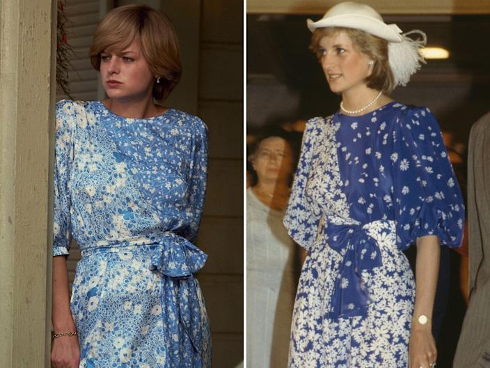 the crown princess diana real outfits vs show emma corrin