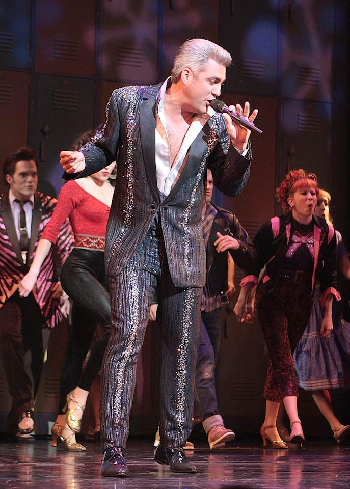 """Former """"Idol"""" Taylor Hicks unsuccessfully attempts to portray the Teen Angel in """"Grease"""" on Broadway. Let's be honest, he looks more like Grandpa Angel in that platinum 'do. Janette Pellegrini/<a href=""""http://www.wireimage.com"""" target=""""new"""">WireImage.com</a> - June 6, 2008"""