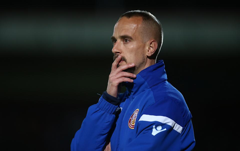 STEVENAGE, ENGLAND - SEPTEMBER 17: Stevenage manager Mark Sampson looks on during the Sky Bet League Two match between Stevenage and Northampton Town at The Lamex Stadium on September 17, 2019 in Stevenage, England. (Photo by Pete Norton/Getty Images)