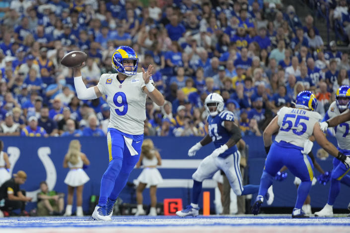 Los Angeles Rams quarterback Matthew Stafford (9) throws during the first half of an NFL football game against the Indianapolis Colts, Sunday, Sept. 19, 2021, in Indianapolis. (AP Photo/AJ Mast)