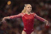 Jade Carey competes in the floor exercise during the women's U.S. Olympic Gymnastics Trials Friday, June 25, 2021, in St. Louis. (AP Photo/Jeff Roberson)