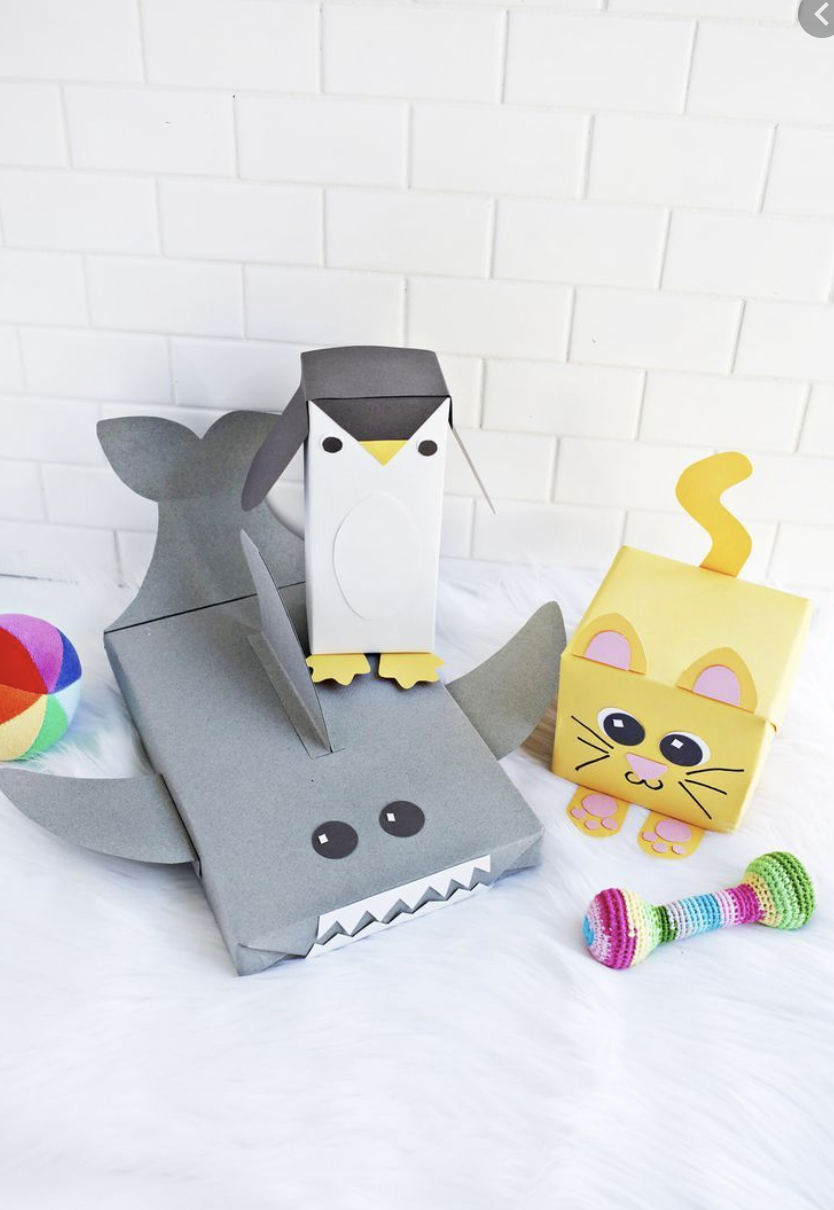 """<p>For a baby shower or a kids' birthday, turn plain old boxes into adorable critters—all you need is a rainbow of cardstock and a little creativity. </p><p>Ge the tutorial at <a href=""""https://abeautifulmess.com/cute-animal-wrapping-paper-ideas/"""" rel=""""nofollow noopener"""" target=""""_blank"""" data-ylk=""""slk:A Beautiful Mess"""" class=""""link rapid-noclick-resp"""">A Beautiful Mess</a>.</p><p><a class=""""link rapid-noclick-resp"""" href=""""https://www.amazon.com/Neenah-80944-01-Astrobrights-Colored-Cardstock/dp/B01LX0UJBN?tag=syn-yahoo-20&ascsubtag=%5Bartid%7C10072.g.34015639%5Bsrc%7Cyahoo-us"""" rel=""""nofollow noopener"""" target=""""_blank"""" data-ylk=""""slk:SHOP CARDSTOCK"""">SHOP CARDSTOCK</a></p>"""