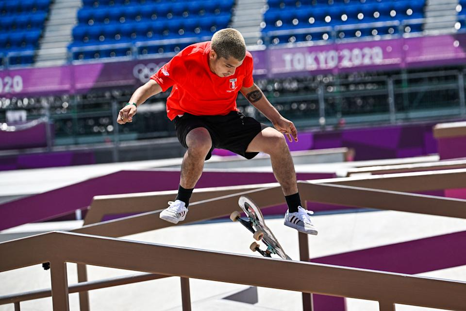 Peru's Angelo Caro Narvaez competes in the men's street final during the Tokyo 2020 Olympic Games at Ariake Sports Park Skateboarding in Tokyo on July 25, 2021. (Photo by Jeff PACHOUD / AFP) (Photo by JEFF PACHOUD/AFP via Getty Images)
