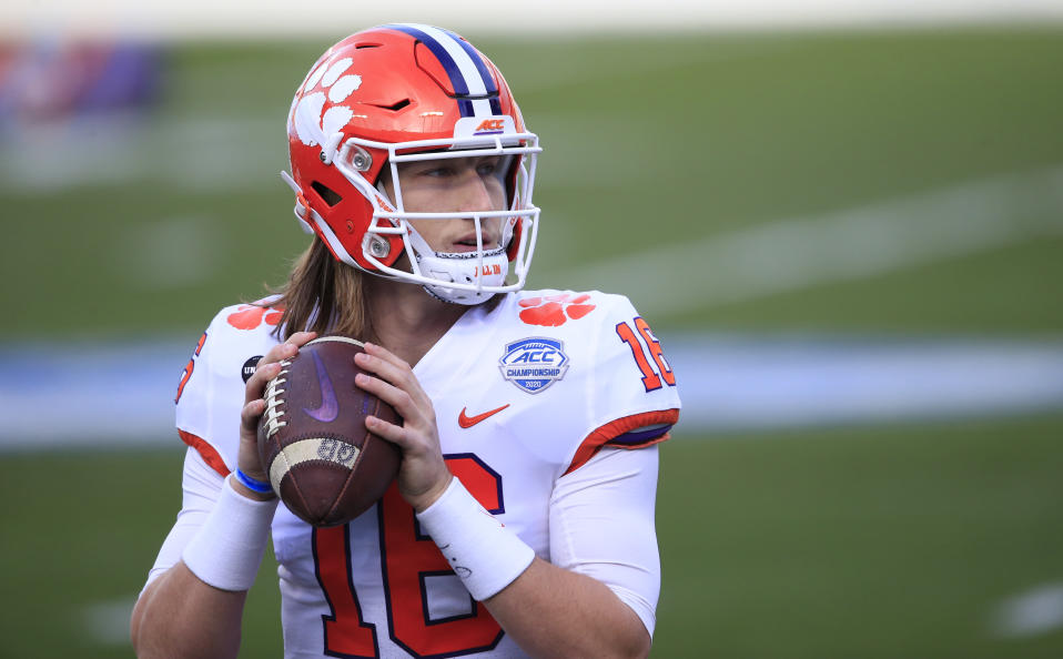 Clemson quarterback Trevor Lawrence is a huge favorite to go with the first pick. (AP Photo/Brian Blanco)