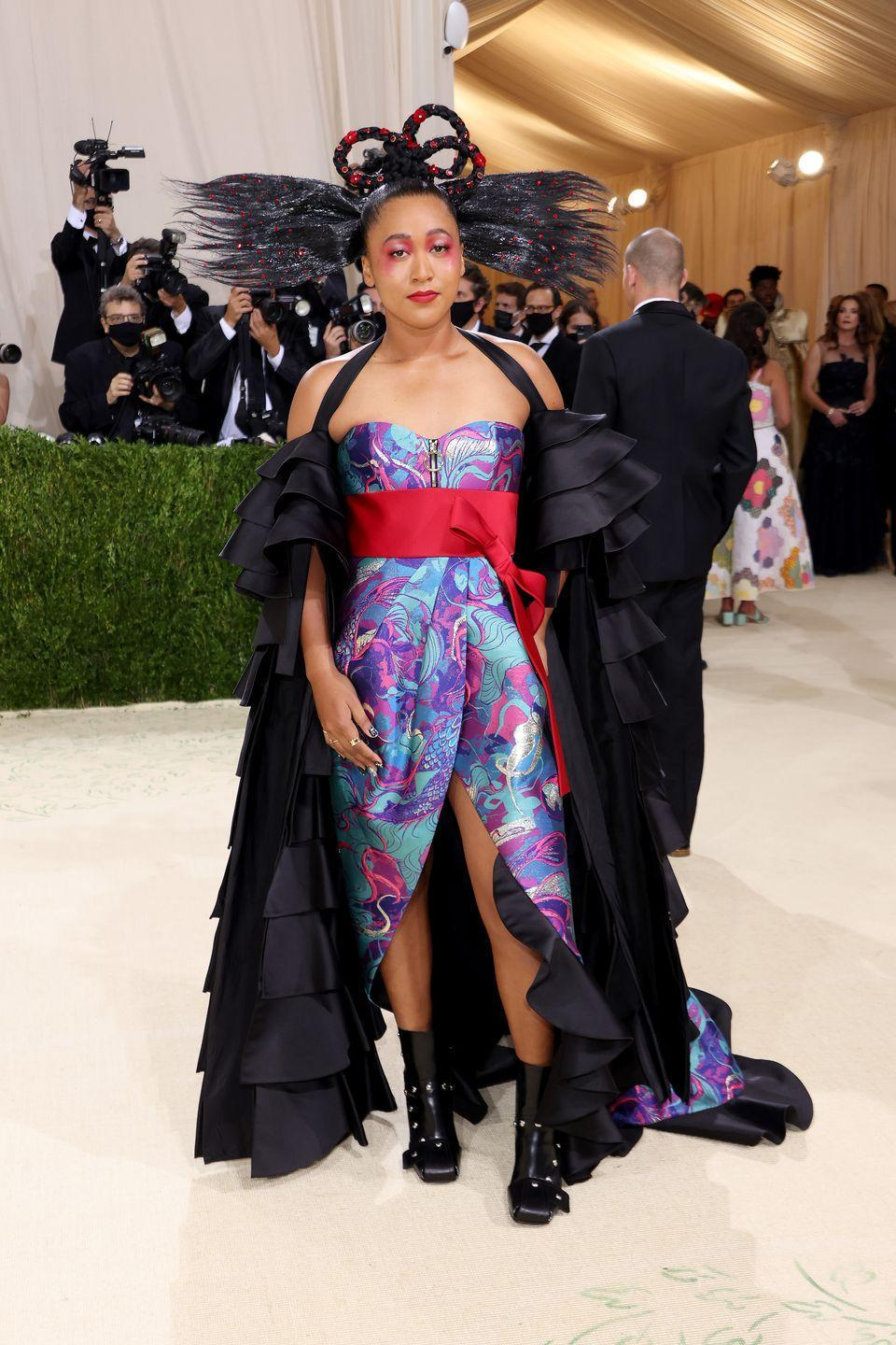 <p>Naomi Osaka wore an outfit inspired by her dual Haitian and Japanese heritage by Louis Vuitton.</p>