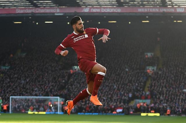 Juventus bound Emre Can scored three league goals for Liverpool last season, including one against West Ham at Anfield in February (AFP Photo/Oli SCARFF )