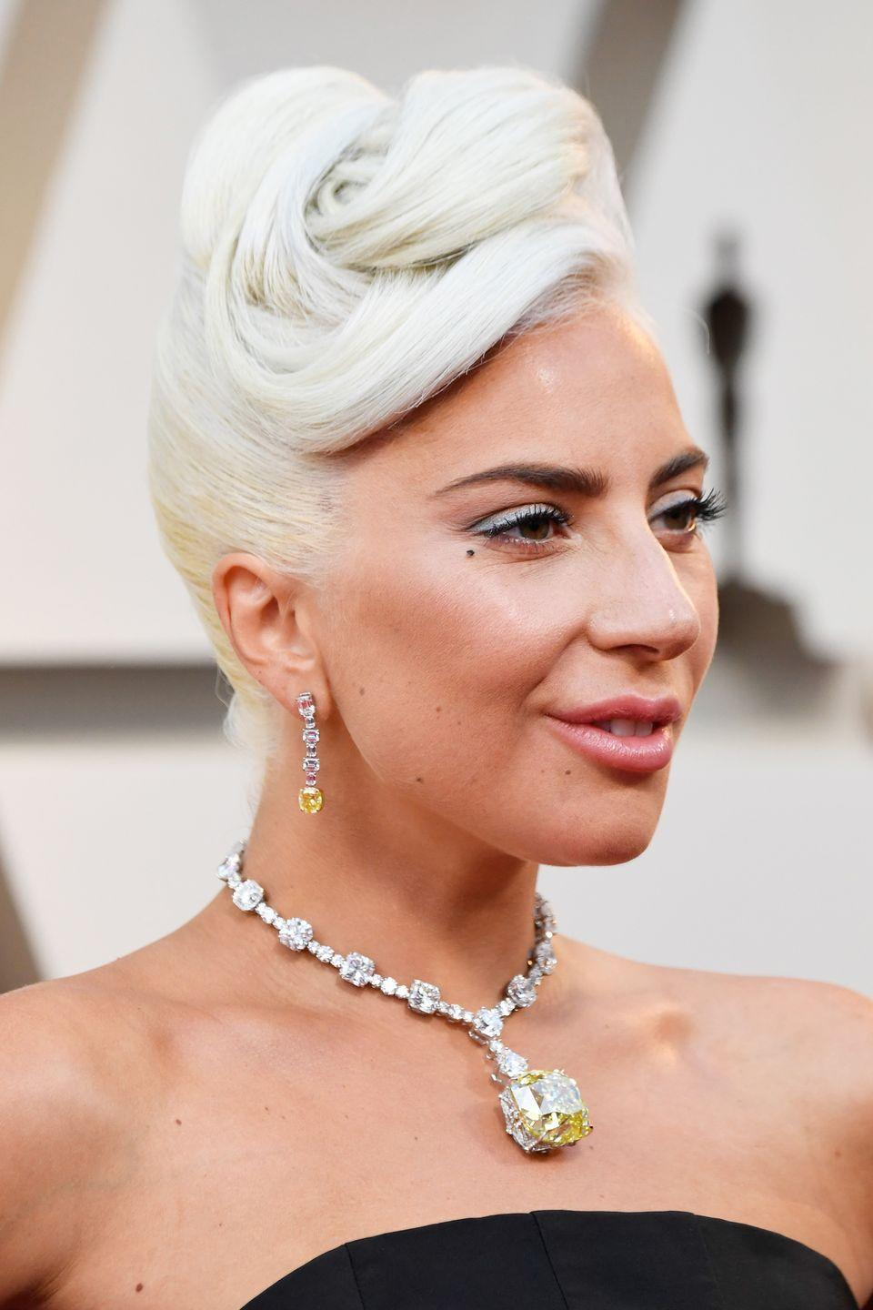 <p>When she's not dabbling with pastel blue or bright pink hair, Lady Gaga's bleached blonde hair is her go-to.</p>