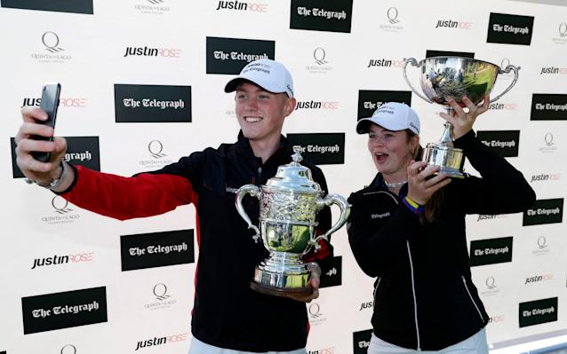 Ben Schmidt and Mimi Rhodes win the boys and girls titles at the Justin Rose Telegraph Junior Championship in Portugal - Getty Images Europe