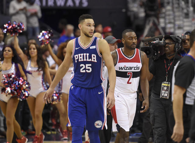 "Philadelphia 76ers guard <a class=""link rapid-noclick-resp"" href=""/nba/players/5600/"" data-ylk=""slk:Ben Simmons"">Ben Simmons</a> has been the star of the rookie class so far. (AP Photo/Nick Wass)"