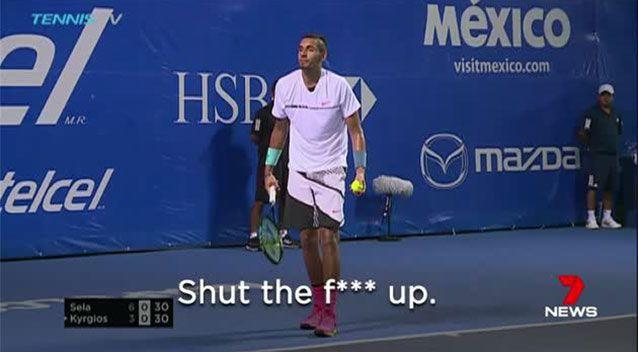Nick Kyrgios made headlines for his outburst at fans earlier this year, before a heated confrontation with his opponent Bernard Tomic. Picture: 7 News