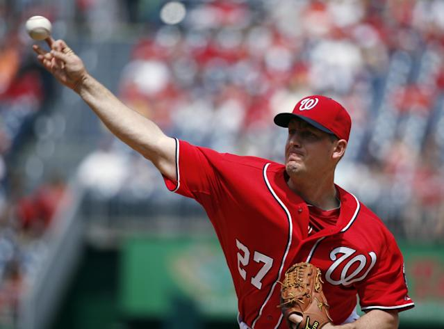 Washington Nationals starting pitcher Jordan Zimmermann throws during the first inning of a baseball game against the St. Louis Cardinals at Nationals Park on Saturday, April 19, 2014, in Washington. (AP Photo/Alex Brandon)