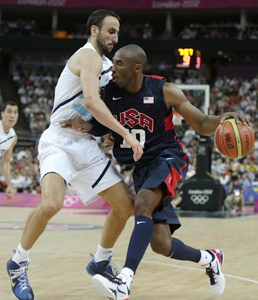 United States' Kobe Bryant, right, drives to the basket against Argentina's Manu Ginobili during a men's semifinals basketball game at the 2012 Summer Olympics, Friday, Aug. 10, 2012, in London. (AP Photo/Charles Krupa)