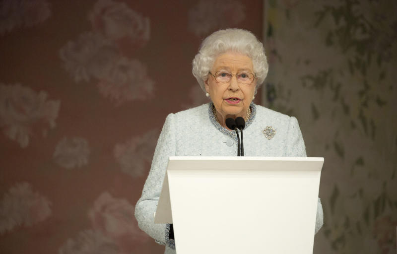 Queen Elizabeth II delivers a speech before presenting the inaugural Queen Elizabeth II Award for British Design to Richard Quinn following his Autumn/Winter 2018 London Fashion Week show at BFC Showspace, London. PRESS ASSOCIATION. Picture date: Tuesday February 20, 2018. Photo credit should read: Isabel Infantes/PA Wire (Photo by Isabel Infantes/PA Images via Getty Images)