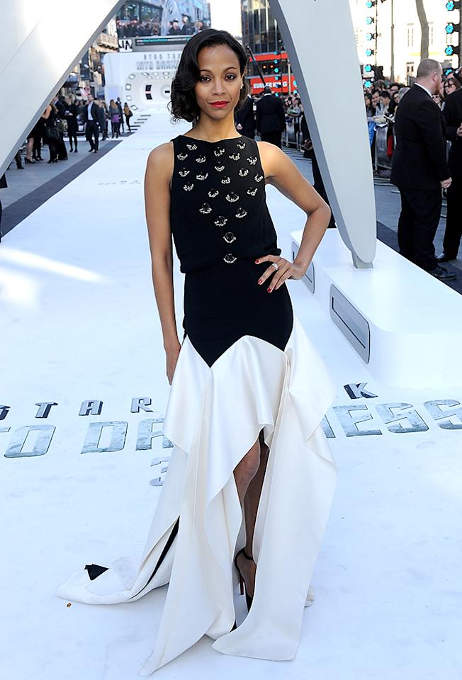 "LONDON, ENGLAND - MAY 02:  (UK TABLOID NEWSPAPERS OUT)  Actress Zoe Saldana attends the ""Star Trek Into Darkness"" UK Premiere at the Empire Leicester Square on May 2, 2013 in London, England.  (Photo by Dave Hogan/Getty Images)"