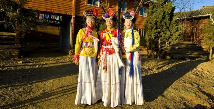 Mosuo tribe girls in traditional costume