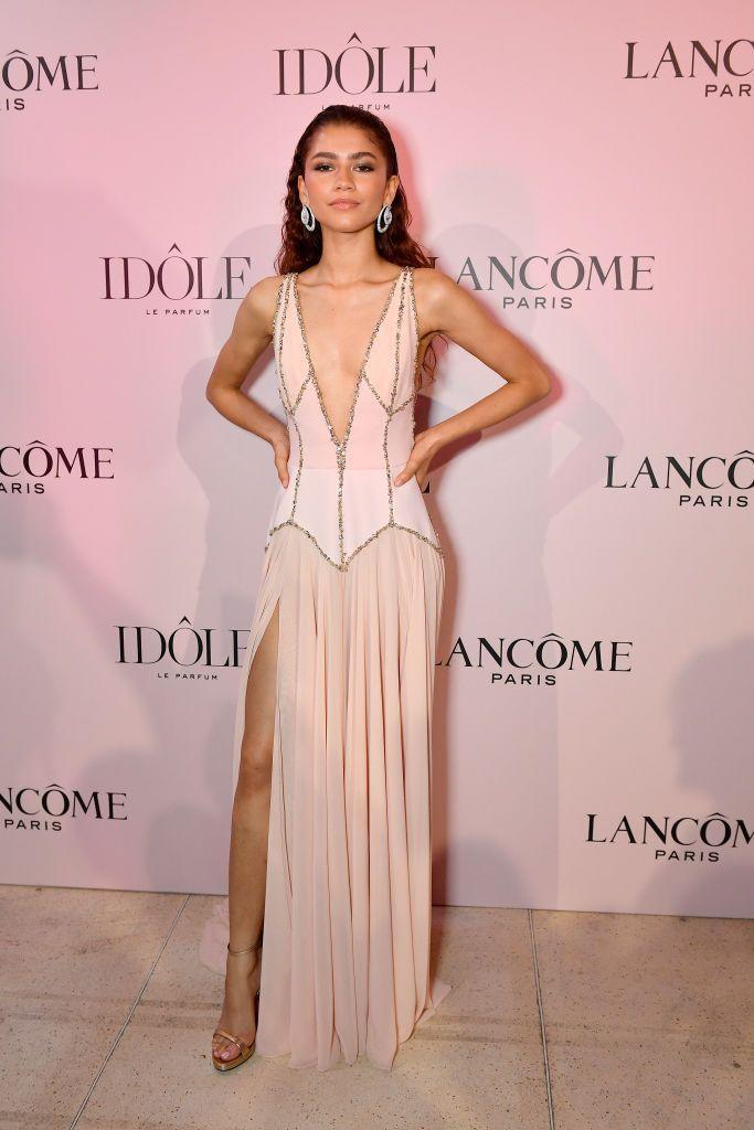<p>Zendaya stunned in pink gown by Georges Hobeika and Chopard jewels to the Lancôme launch event, where they announced her as the face of the new Idôle Fragrance. </p>