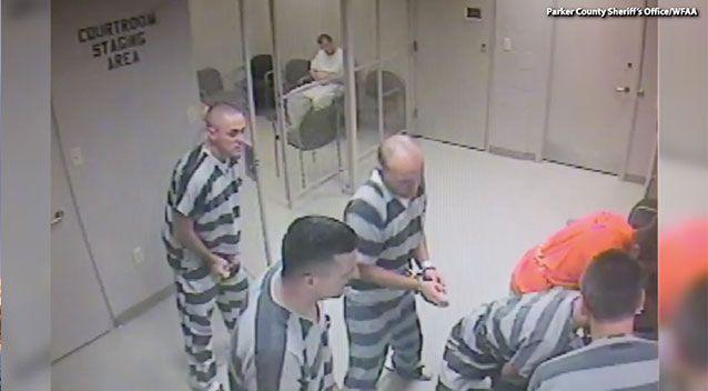Their commotion caught the attention of courthouse guards, who came to see what the fuss was about. Source: Parker County Sheriff's Office