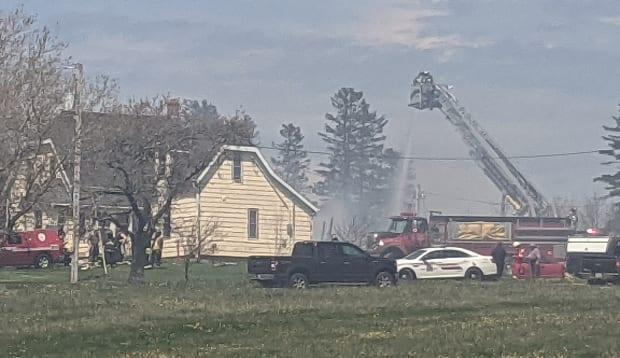 Firefighters from North River, Charlottetown and New Glasgow were all on scene at the fire in Springvale Monday afternoon.