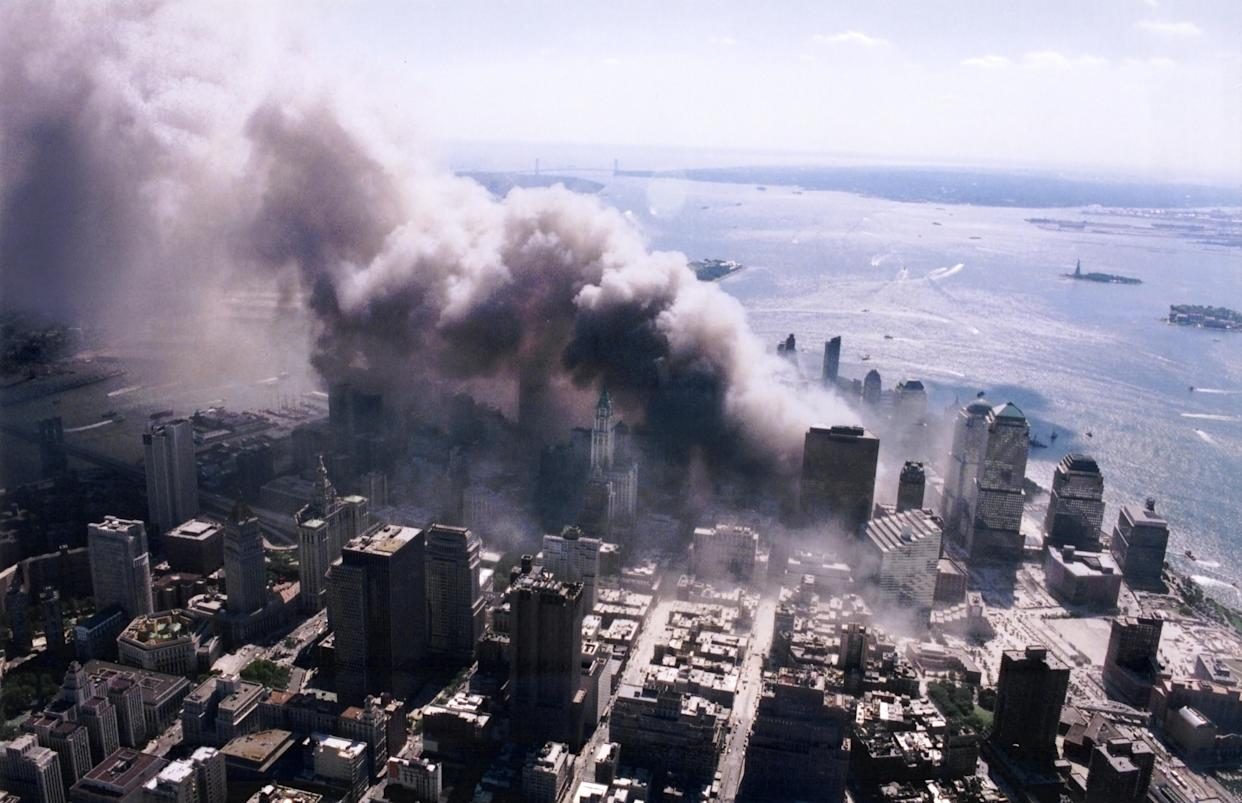 An aerial view of ground zero burning after the September 11 terrorist attacks. (Photo Credit: NIST)