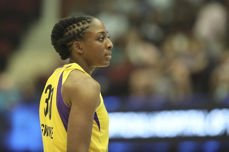 Los Angeles Sparks Nneka Ogwumike #30 is seen against the New York Liberty during a WNBA basketball game, Saturday, July 20, 2019, in White Plains, N.Y. (AP Photo/Gregory Payan)