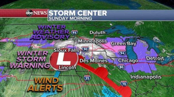 PHOTO: Heavy snow is expected to impact Chicago, Green Bay, Milwaukee, and Grand Rapids by the middle of the morning. Locally, three inches of snow will accumulate in the area, with winds gusting at times over 30 MPH which could cause low visibility. (ABC News)