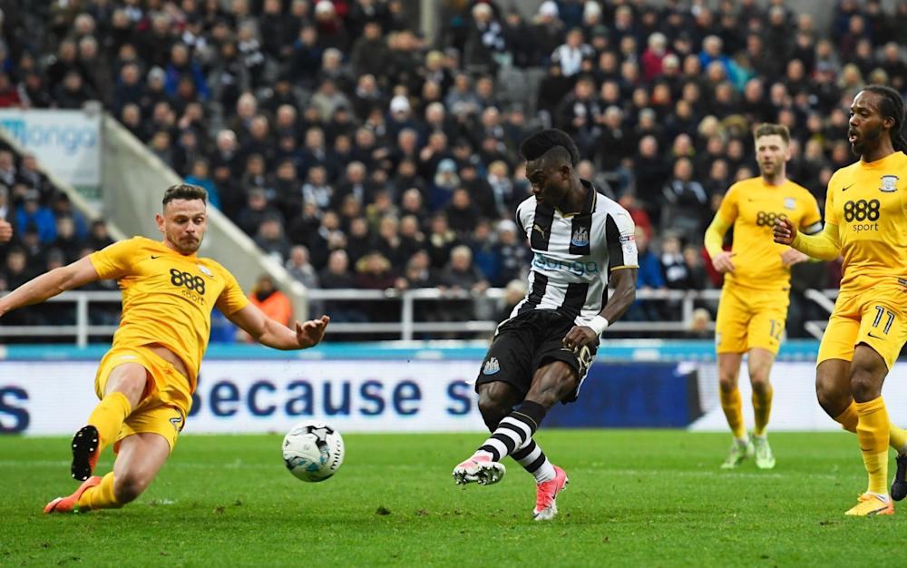 Atsu puts Newcastle back in the lead - Credit: Stu Forster/Getty Images Europe