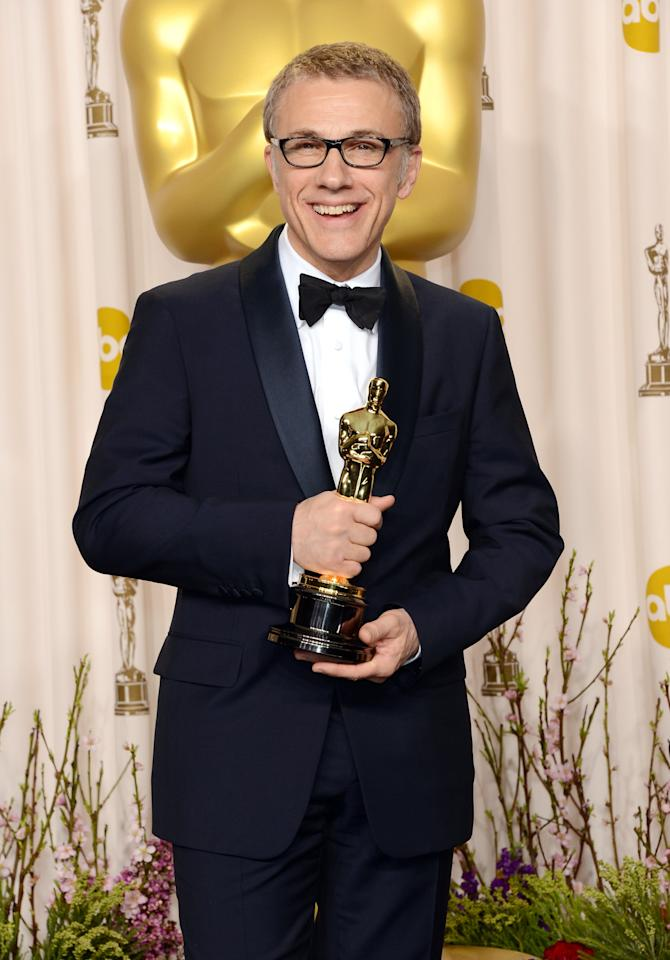 "HOLLYWOOD, CA - FEBRUARY 24:  Actor Christoph Waltz, winner of the Best Supporting Actor award for ""Django Unchained,"" poses in the press room during the Oscars held at Loews Hollywood Hotel on February 24, 2013 in Hollywood, California.  (Photo by Jason Merritt/Getty Images)"