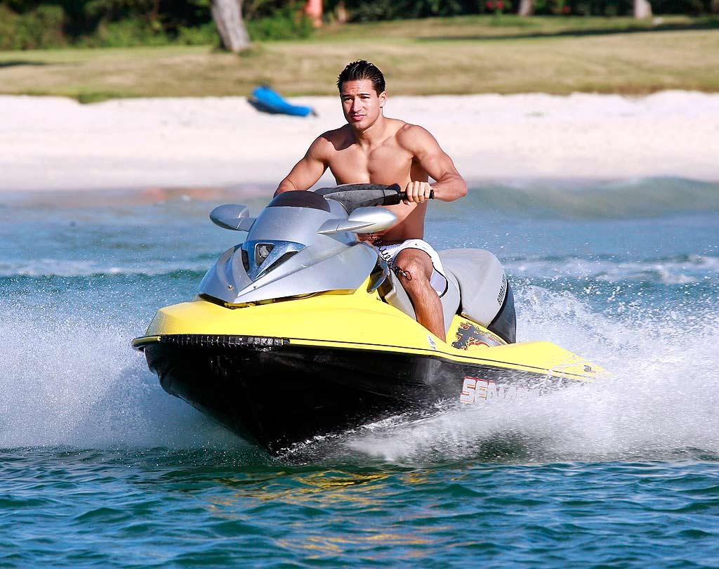 "Hunky Mario Lopez rides the waves in Mexico. MWD/<a href=""http://www.x17online.com"" target=""new"">X17 Online</a> - December 2, 2008"