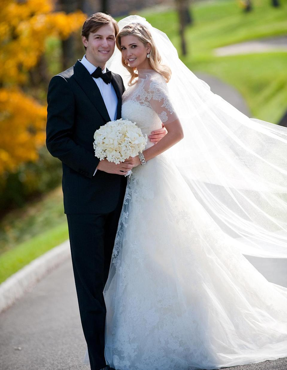 """<p>To wed Jared Kushner in 2009, <a href=""""https://people.com/style/the-inside-scoop-on-ivanka-trumps-wedding-gown-and-hair/"""" rel=""""nofollow noopener"""" target=""""_blank"""" data-ylk=""""slk:Trump worked with Wang on a custom couture gown"""" class=""""link rapid-noclick-resp"""">Trump worked with Wang on a custom couture gown</a> inspired by <a href=""""https://people.com/royals/inside-grace-kellys-fairytale-wedding-to-prince-rainer-61-years-later/"""" rel=""""nofollow noopener"""" target=""""_blank"""" data-ylk=""""slk:Grace Kelly's wedding dress"""" class=""""link rapid-noclick-resp"""">Grace Kelly's wedding dress</a>.</p>"""