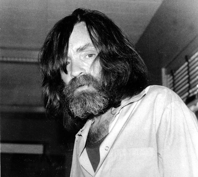 <p>Convicted murderer Charles Manson is shown during an interview with television talk show host Tom Snyder in a medical facility in Vacaville, Calif., on June 10, 1981. (Photo: AP) </p>