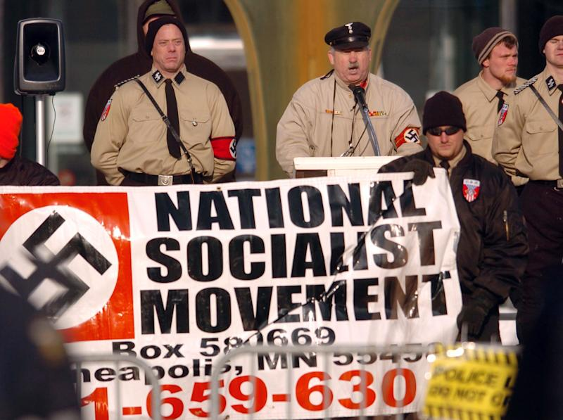 Members of the National Socialist Movement rally in downtown Toledo, Ohio, on Dec. 10, 2005. (Matt Sullivan / Reuters)