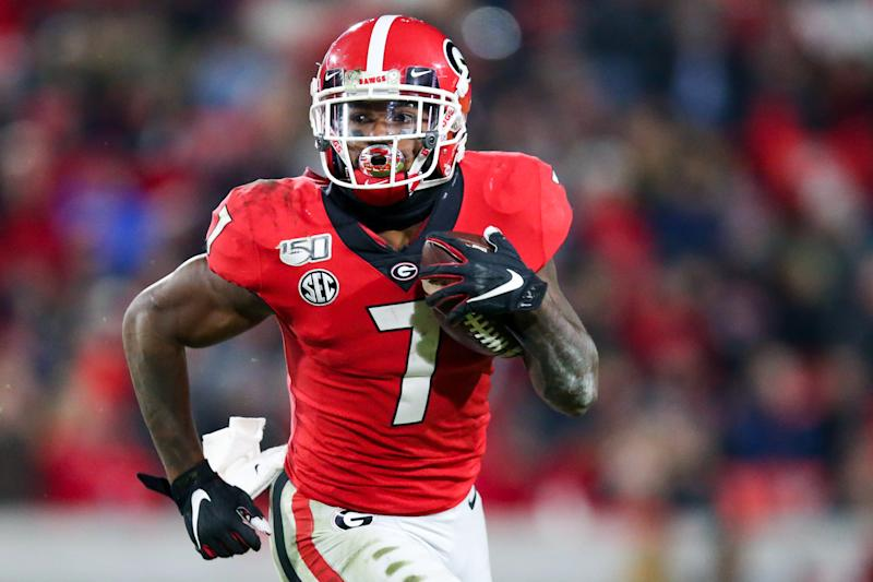 Georgia's D'Andre Swift is perhaps the leader for RB1 honors in the 2020 NFL draft. (Photo by Carmen Mandato/Getty Images)
