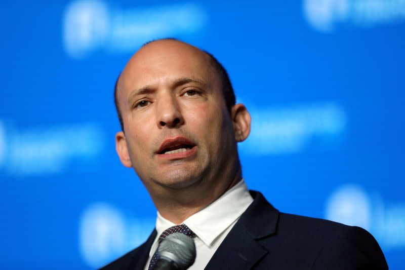 FILE PHOTO: Israeli Education Minister Naftali Bennett speaks during a reception hosted by the Orthodox Union in Jerusalem ahead of the opening of the new U.S. embassy in Jerusalem