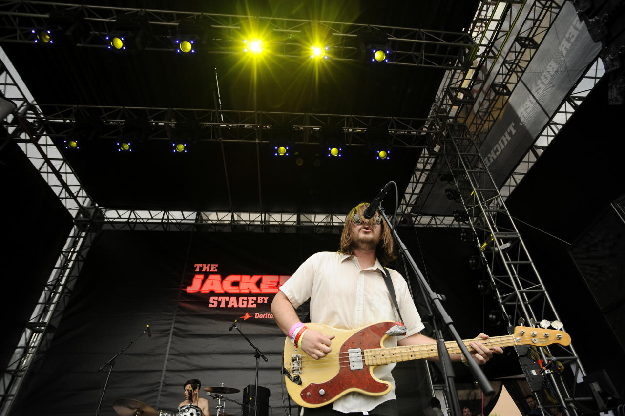 Jonny Bell, of Crystal Antlers, performs on The JACKED Stage by Doritos in Austin, Texas, Saturday, March 17, 2012. The 56-foot-tall vending machine JACKED Stage was unveiled at SXSW to debut amped up new Doritos JACKED chips. (Darren Abate/AP Images for Doritos)