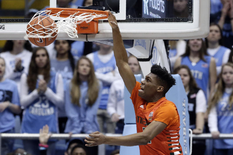 Miami forward Anthony Walker dunks against North Carolina during the first half of an NCAA college basketball game in Chapel Hill, N.C., Saturday, Jan. 25, 2020. (AP Photo/Gerry Broome)