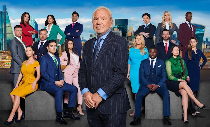 Lord Sugar with this year's 16 candidates (Photo: BBC)