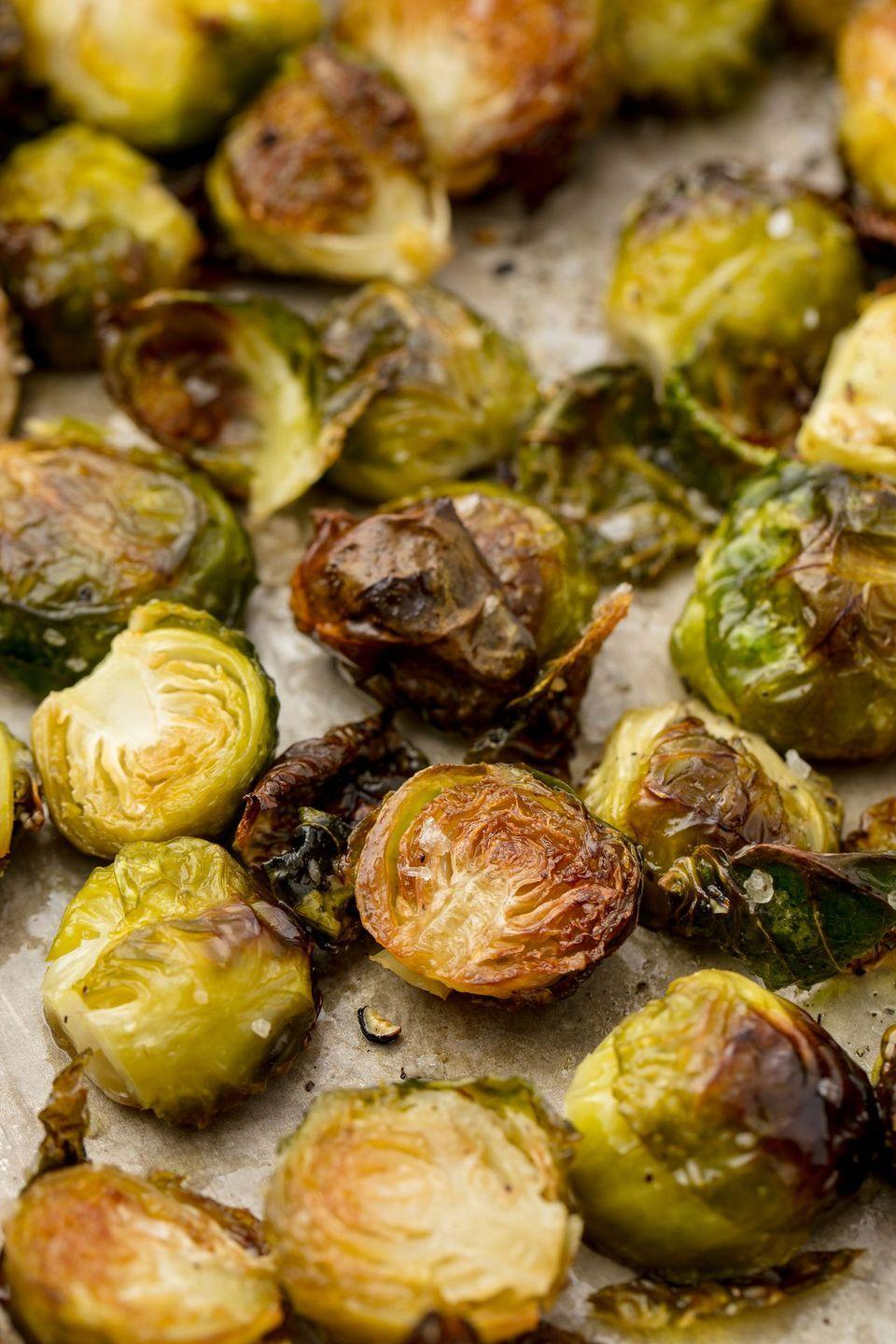 "<p>Here's how to get the perfect crispy edges. </p><p>Get the recipe from <a href=""https://www.delish.com/cooking/recipe-ideas/a55335/best-roasted-brussel-sprouts-recipe/"" rel=""nofollow noopener"" target=""_blank"" data-ylk=""slk:Delish"" class=""link rapid-noclick-resp"">Delish</a>.</p>"