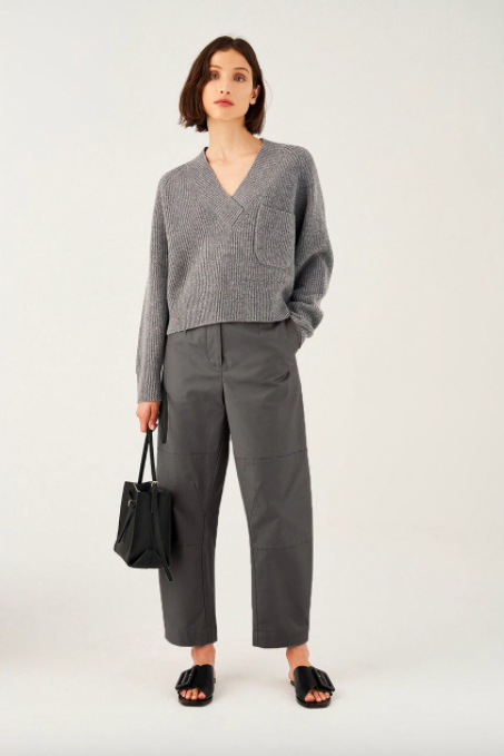 "Australian label Oroton just launched in the UK and has the dreamiest tailored trousers out there. WFH means I won't be leaving the sofa for the next six months so I'll lust over this knit instead, which I'd pair with XXL collar blouses to feel dressed up for Zoom meetings. <br><br><strong>Oroton</strong> Wool V-Neck Rib Knit Sweater, $, available at <a href=""https://oroton.com/wool-v-neck-rib-knit-sweater-grey-marle-m"" rel=""nofollow noopener"" target=""_blank"" data-ylk=""slk:Oroton"" class=""link rapid-noclick-resp"">Oroton</a>"