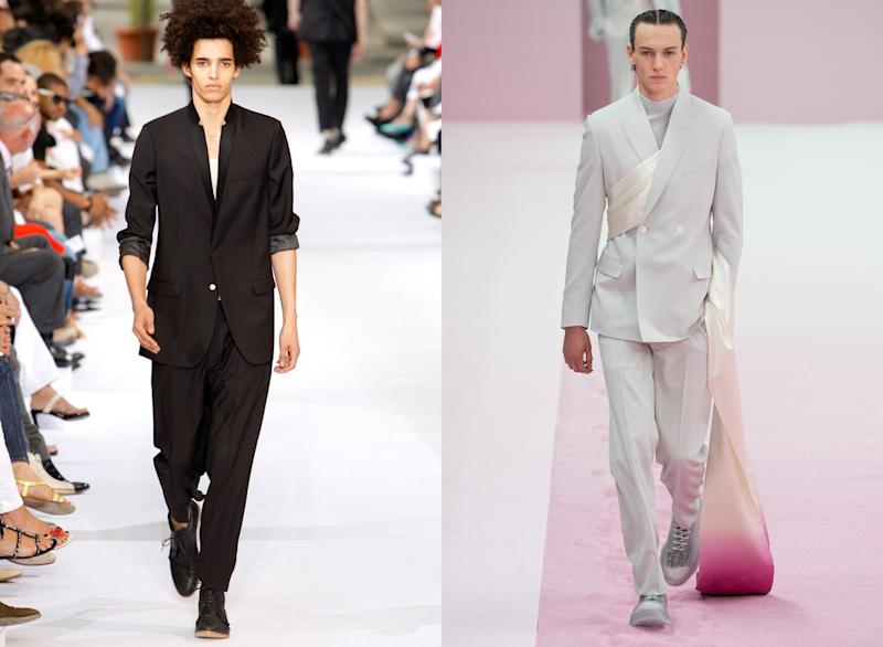 Dior Homme Spring 2010 designed by Kris Van Assche; Dior Men Spring 2020 designed by Kim Jones