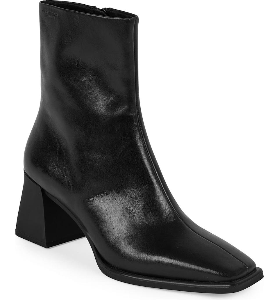 <p>This <span>Vagabond Shoemakers Hedda Bootie</span> ($180) is simple, yet it's refined and striking in design. We love the square toe and the sleek, modern block heel.</p>