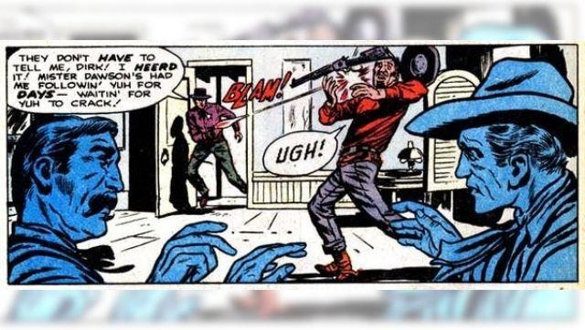Stan Lee's Gunsmoke Western (1955) #68, with lettering and pencilling by Dick Ayers. The Comic Book Sound Effect Database. (Via The Conversation)