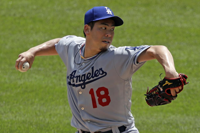 Los Angeles Dodgers starting pitcher Kenta Maeda delivers during the third inning of the team's baseball game against the Pittsburgh Pirates in Pittsburgh, Sunday, May 26, 2019. (AP Photo/Gene J. Puskar)