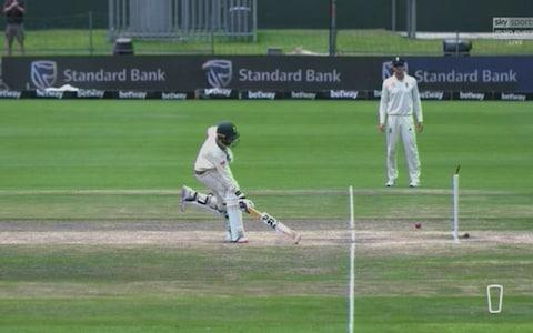 Maharaj run out - and he was dwadling! - Credit: Sky Sports