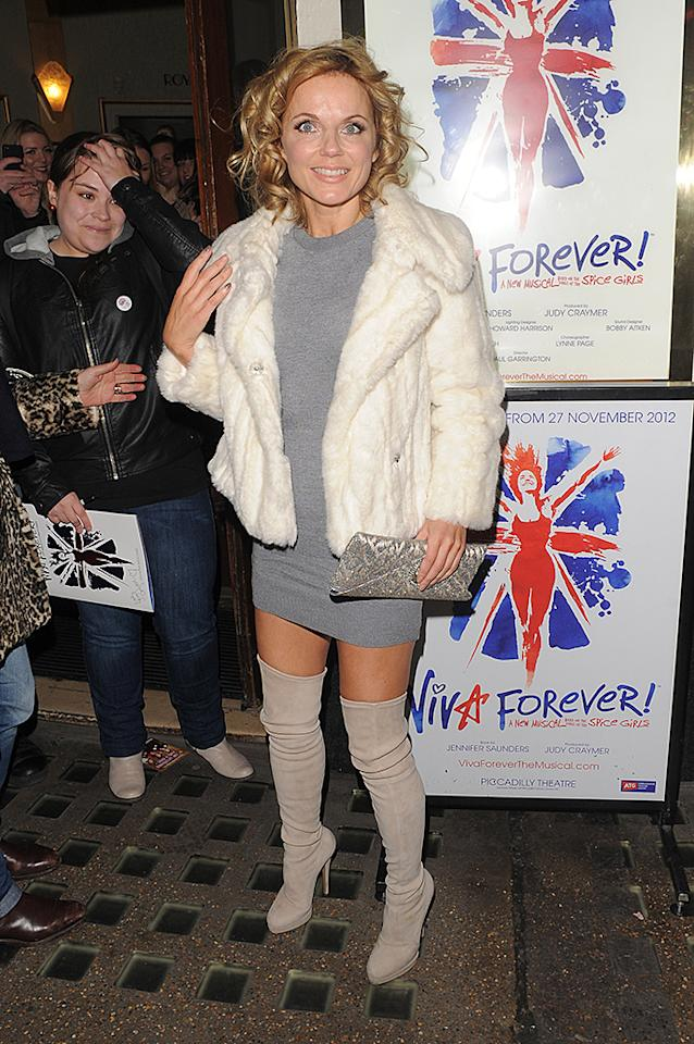 Geri Halliwell arriving at the Spice Girls musical 'Viva Forever!' at Piccadilly Theatre in London, UK. Pictured: Geri Halliwell  Ref: SPL473321  181212  Picture by: Gotcha Images / Splash News   Splash News and Pictures Los Angeles:310-821-2666 New York:212-619-2666 London:870-934-2666 photodesk@splashnews.com