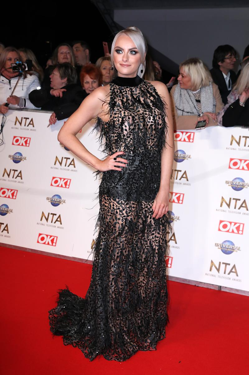 Katie McGlynn attending the National Television Awards 2020 held at the O2 Arena, London.