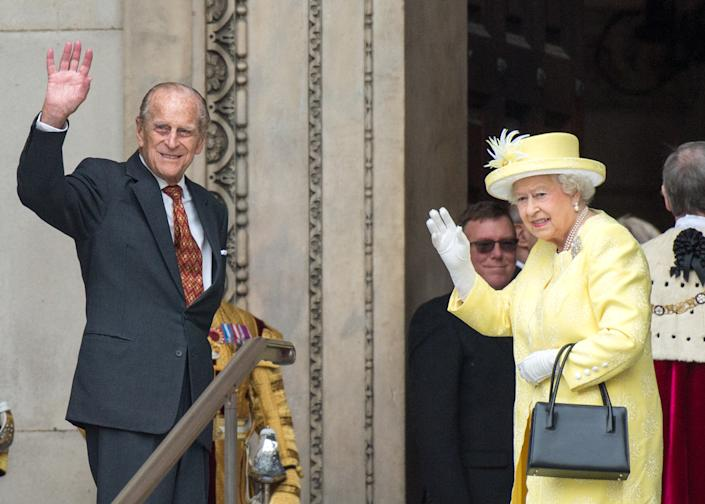LONDON, ENGLAND - JUNE 10: Prince Philip, Duke of Edinburgh and Queen Elizabeth II attend a National Service of Thanksgiving as part of the 90th birthday celebrations for The Queen at St Paul's Cathedral on June 10, 2016 in London, England. (Photo by Zak Hussein - Corbis/Corbis via Getty Images)