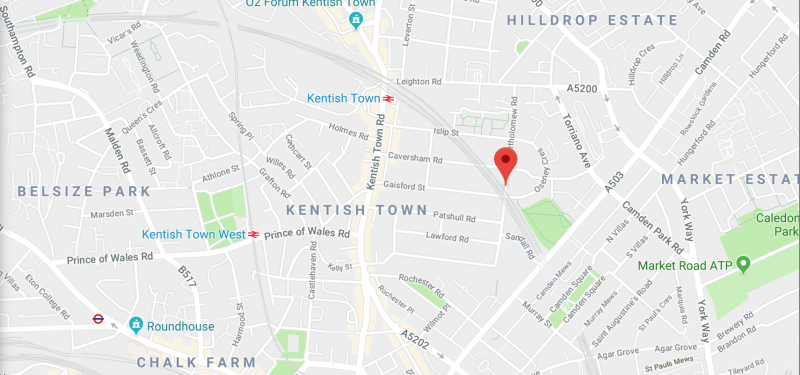 <strong>The two stabbing happened less than a mile from each other, with one occurring onBartholomew Road, (red marker) and the second on Malden Road, in Belsize Park</strong> (Google)