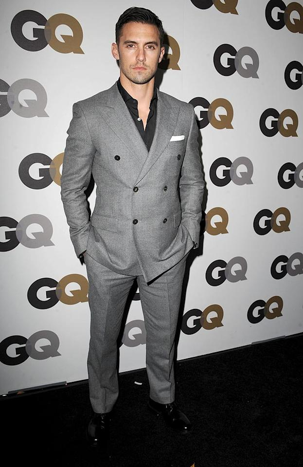 "Former ""Heroes"" star Milo Ventimiglia struck a rather stoic pose in a double-breasted gray suit. Steve Granitz/<a href=""http://www.wireimage.com"" target=""new"">WireImage.com</a> - November 17, 2010"
